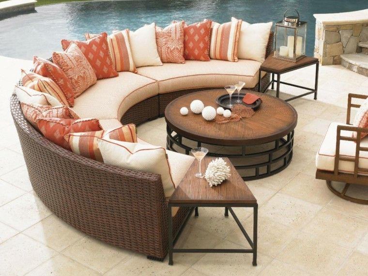 mesa madera sofa cojines ideas jardin ideas