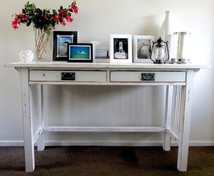 mesa retro madera recibidor blanca
