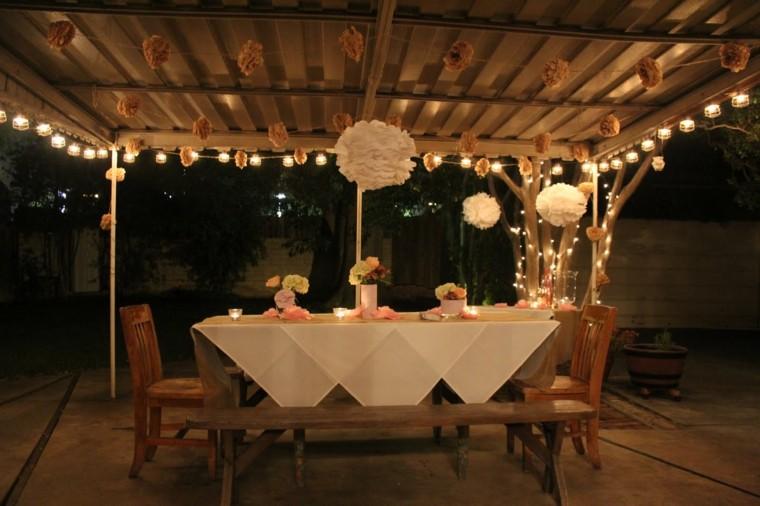 mesa sillas bancos madera pergola jardin ideas