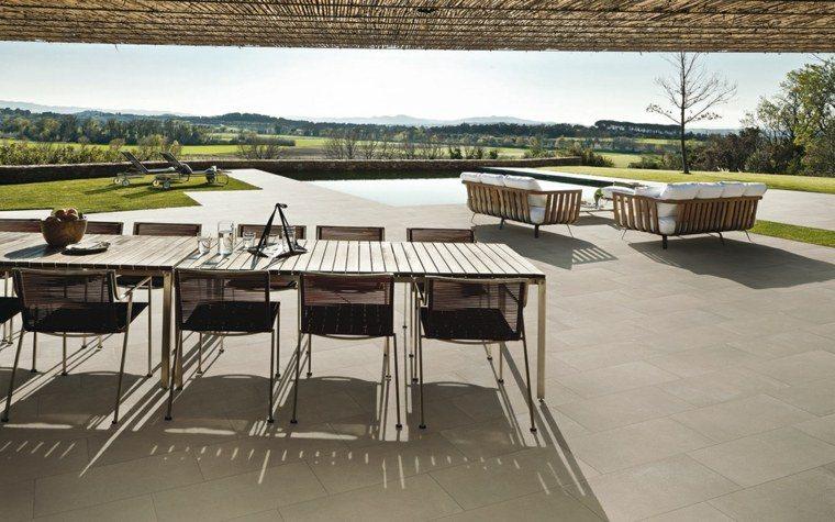 mesa sillas comidas pergola piscina ideas