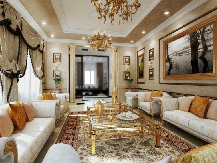mesas oro salon estilo victoriano sofas blancas ideas