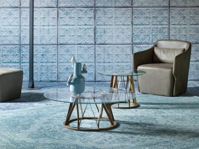 mesas salon moderno encimeras cristal diseno ideas
