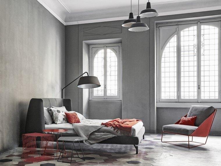 mesita noche acero roja sillon dormitorio ideas