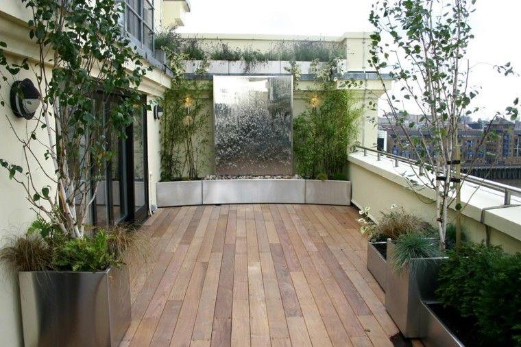 metalico contenedores plantas terraza agua