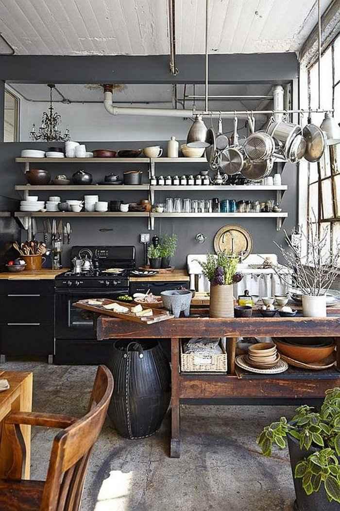 mezcla estilos industrial rustico cocina