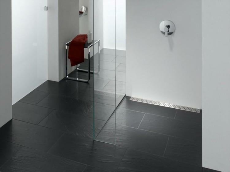 minimalismo diseño baño suelo negro