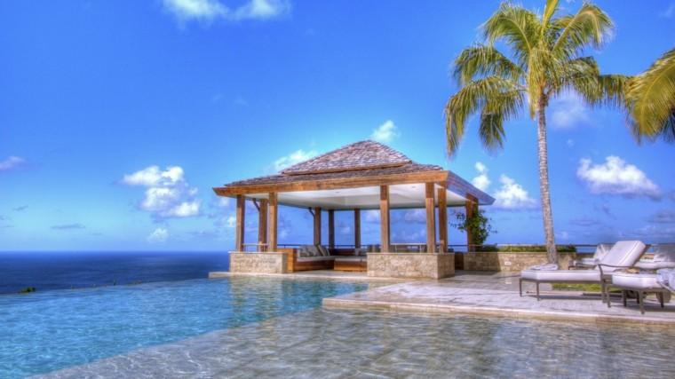 mirador madera estilo tropical palmeras
