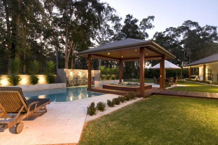 mirador pergola madera flotante piscina