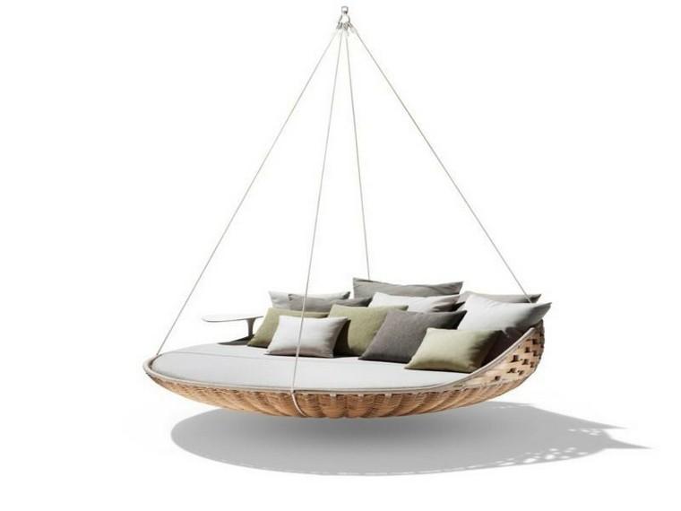 mobiliario cama reondeada exterior ratan