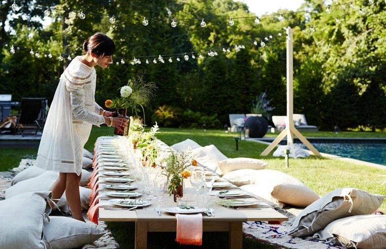 mobiliario de jardin decoracion mesa baja madera ideas