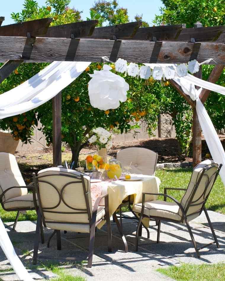 mobiliario de jardín decoración sillas acero cojines ideas