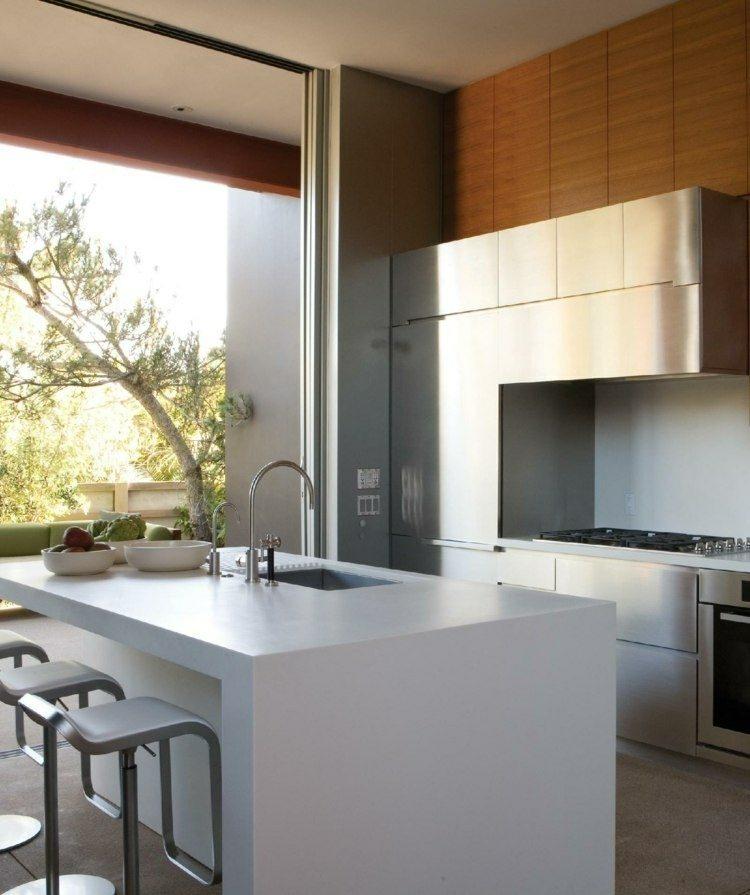 moderna amplia cocina madera contemporanea