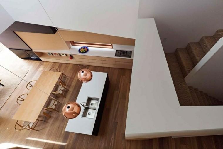 moderna doradas escaleras casa distribucion