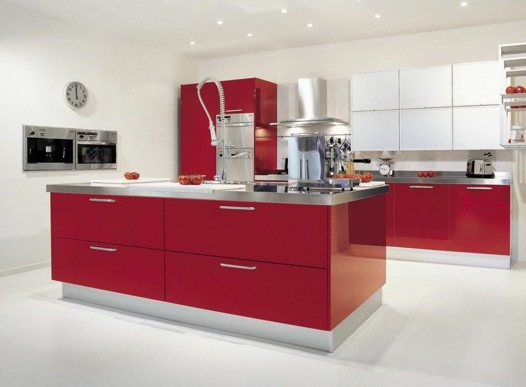 moderna minimalista cocina diseño rojo