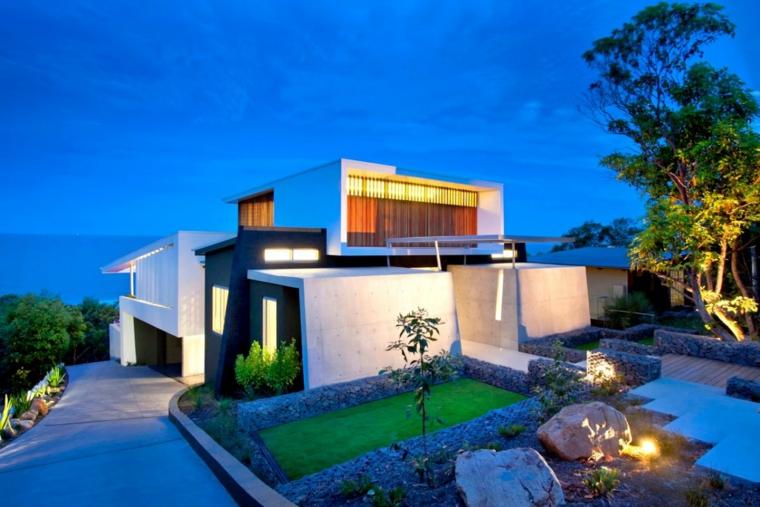 moderno casa pendiente luces rocas
