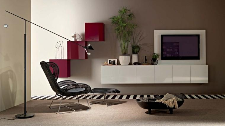 moderno salon interior television alargada