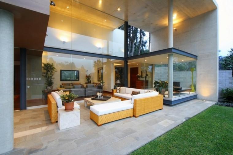 modernos asiento terraza plantas cesped