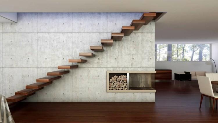 modrno salon chimenea madera flotante