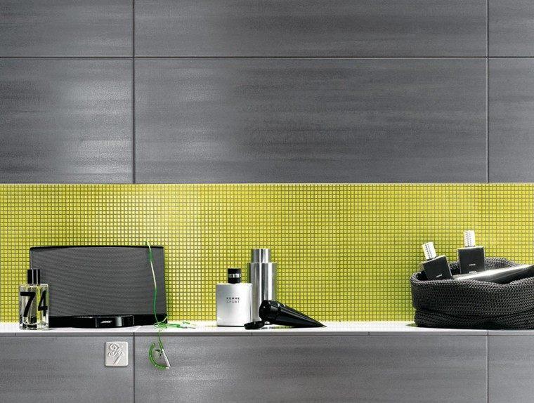 mosaico color amarillo azulejos gris