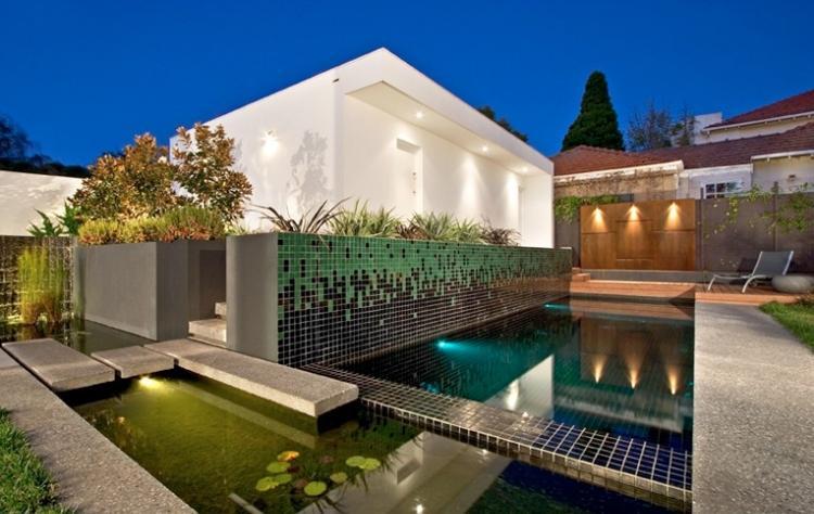 mosaicos grandes muro piscina estanque