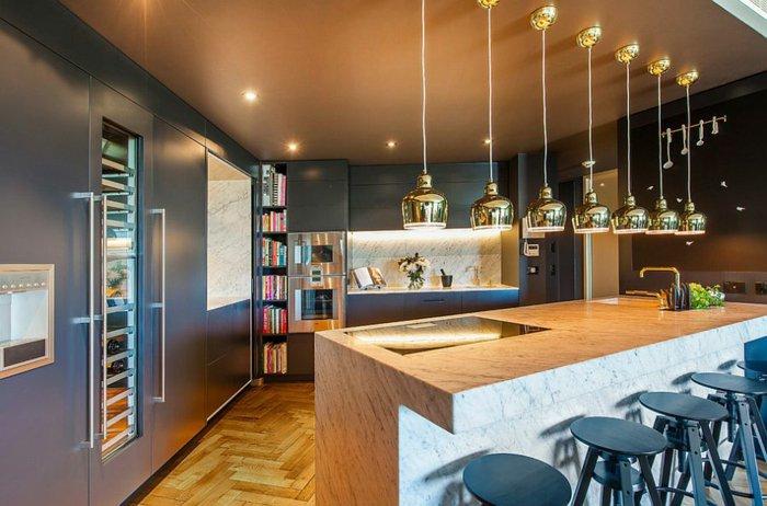 Electrodomesticos y cocinas de aspecto industrial 100 ideas - Lamparas colgantes para cocina ...