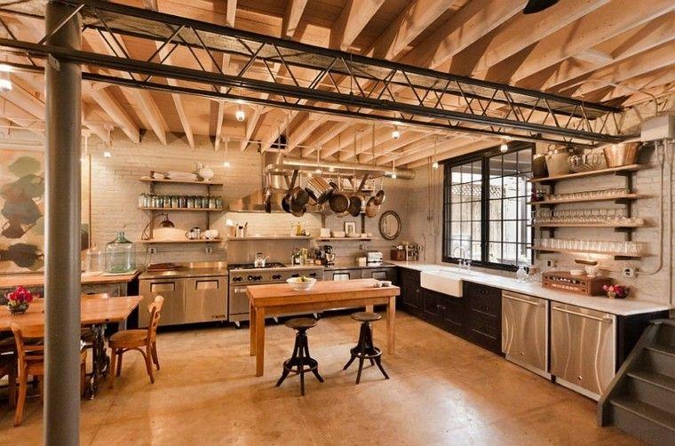 madera muebles amplia espacio pared ladrillo cocina ideas
