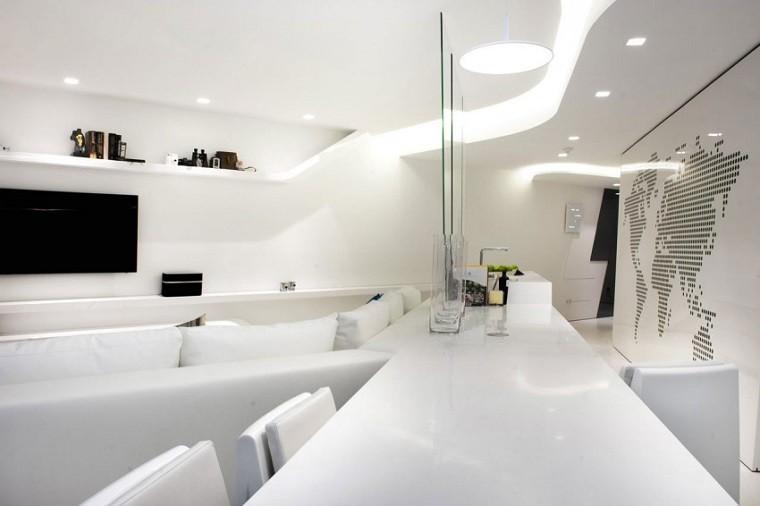 mueble bar todo blanco luces