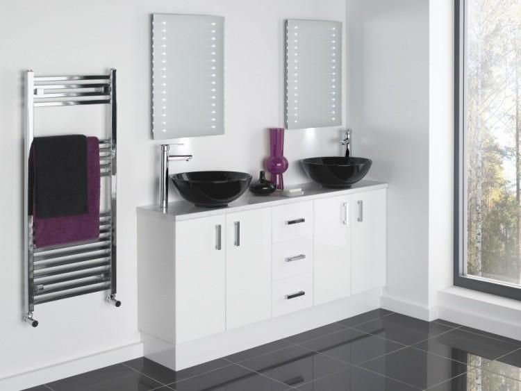 mueble blanco moderno lavabos negros