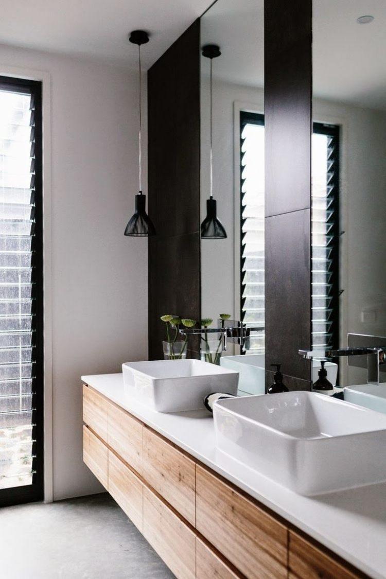 mueble lavabos madera encimera blanca