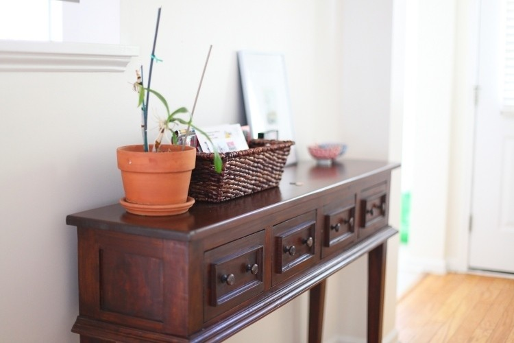 mueble recibidor madera natural lacada