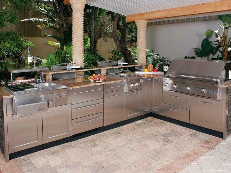muebles acero inoxidable resistentes cocina exterior ideas