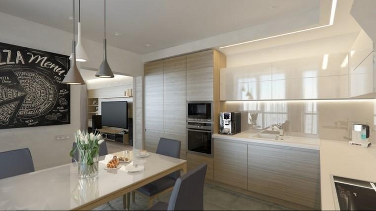 muebles armarios suelo techo cocina amplia moderna ideas
