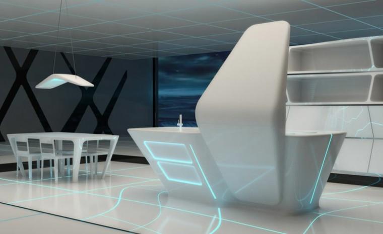 muebles blancos estilo futurista