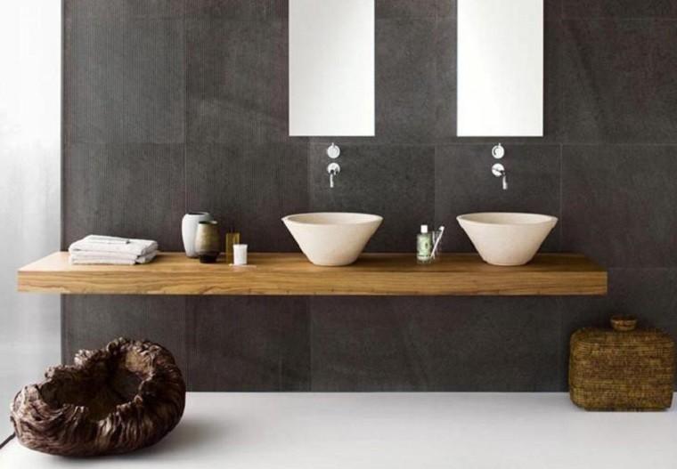 encimera lavabos madera maciza muebles bao estilo retro