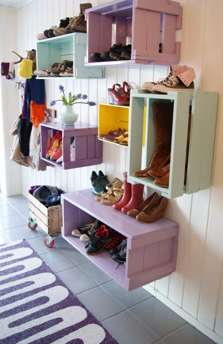muebles baratos diy zapatera colorida
