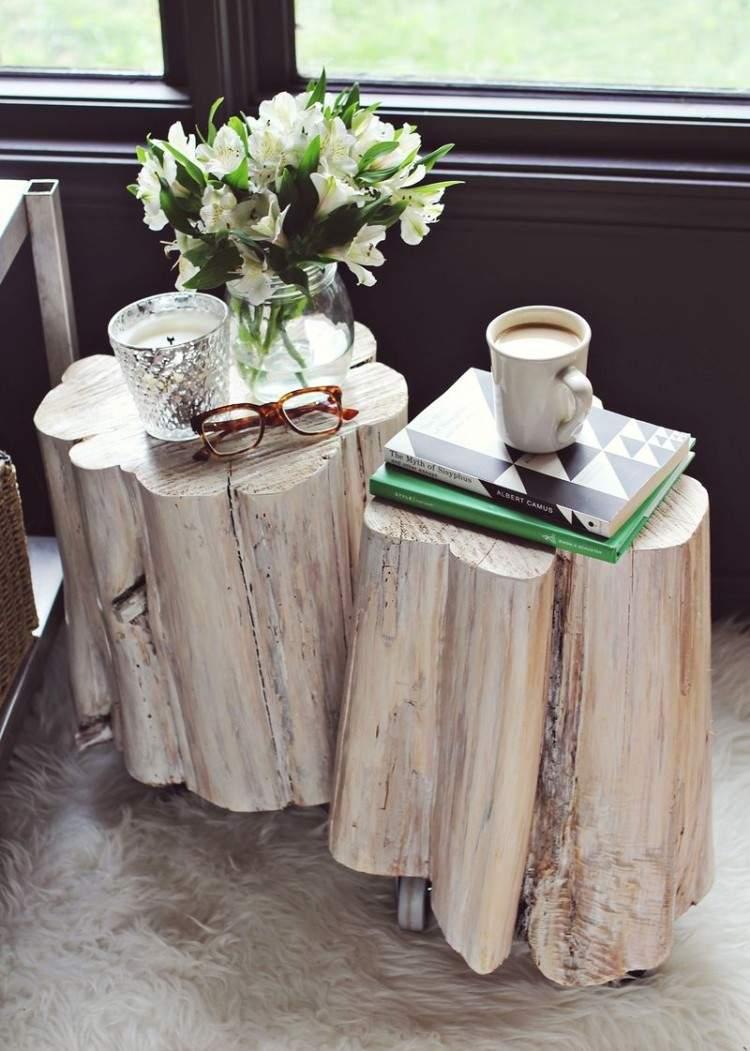 muebles baratos diy mesas tronco flores