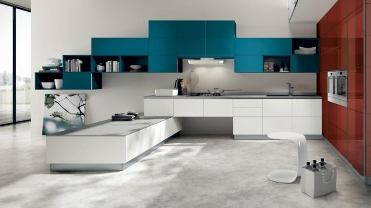 Lujoso Cocina Pared Azul Acento Modelo - Ideas Del Gabinete de ...