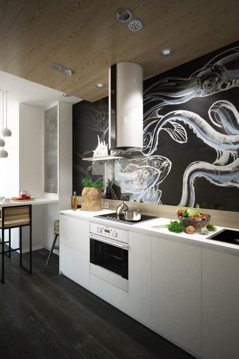 muebles blancos cocina pared negra ideas