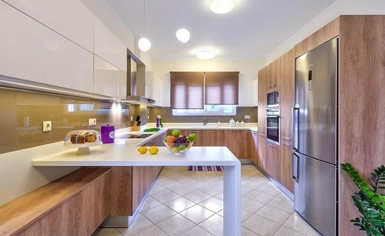 muebles cocina madera armarios blancos modernas
