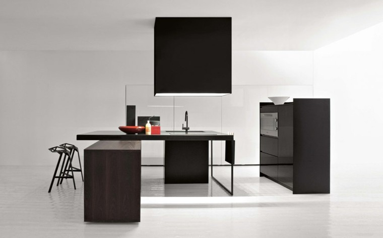 Diseño de cocinas color negro madera