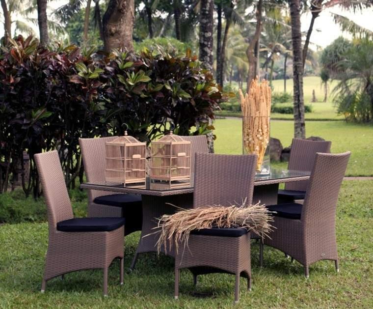 muebles comedor jardin rattan marrón