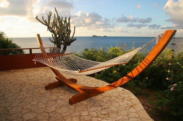 muebles de jardín hamaca vista preciosa madera ideas