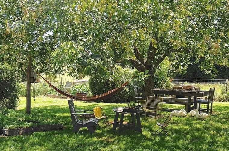 muebles de jardín hamacas cesped madera teca ideas