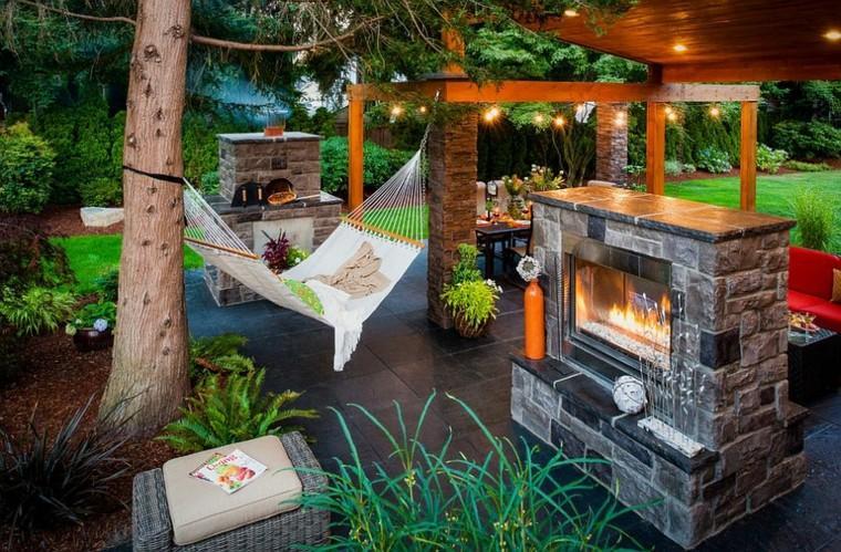 muebles de jardín hamacas chimenea pergola ideas