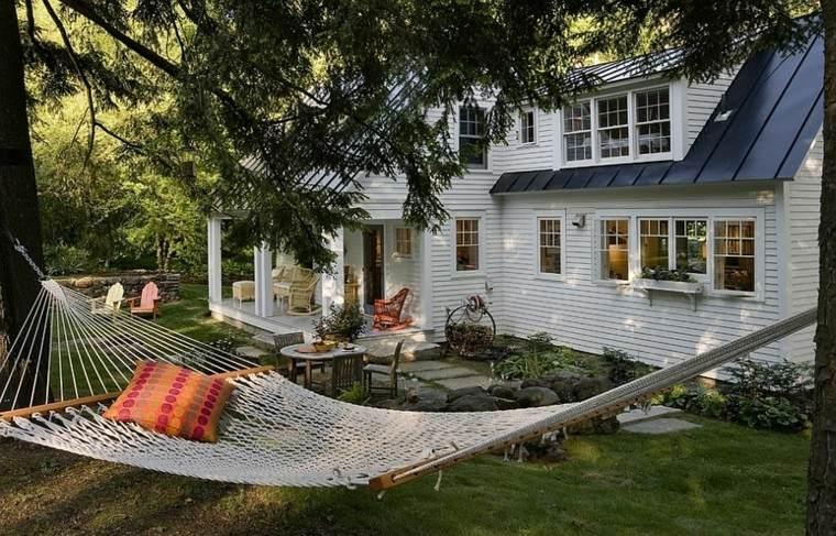 muebles de jardín hamacas colgada arbol ideas