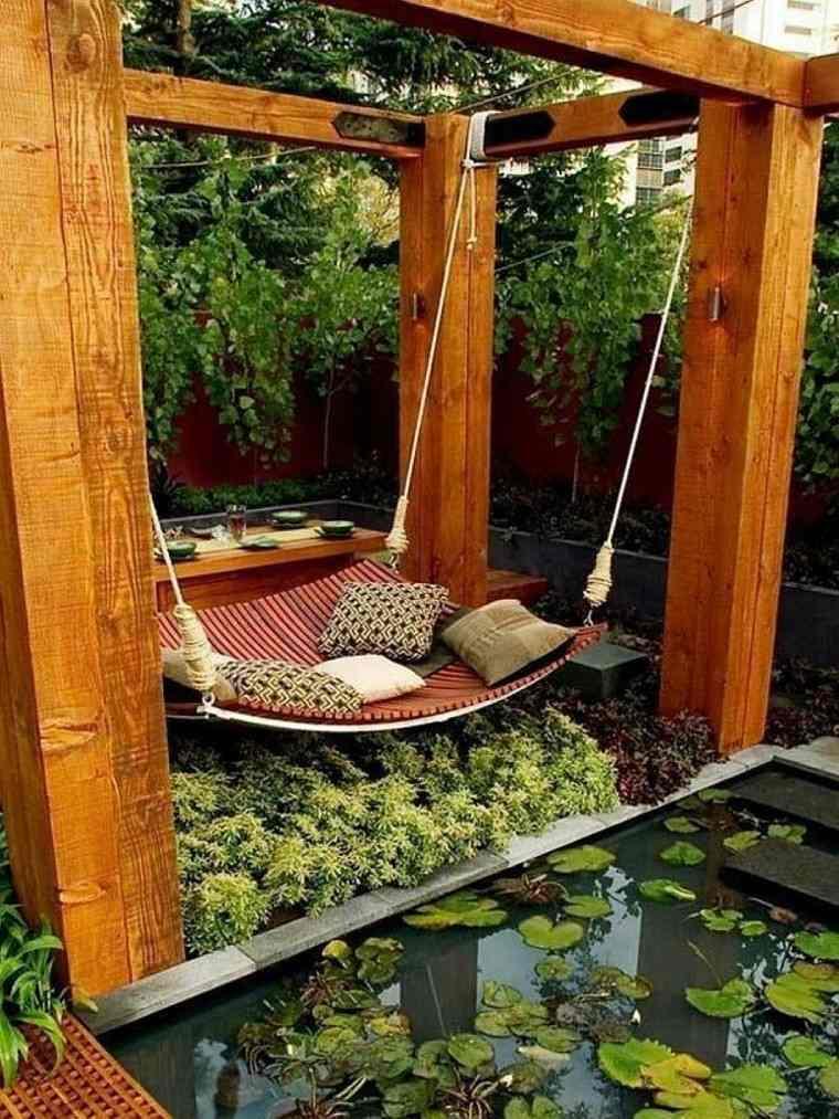 muebles de jardín hamacas cuelga pergola madera ideas