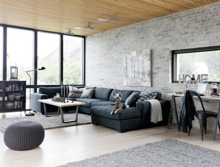muebles de salón colores azul gris combinacion ideas