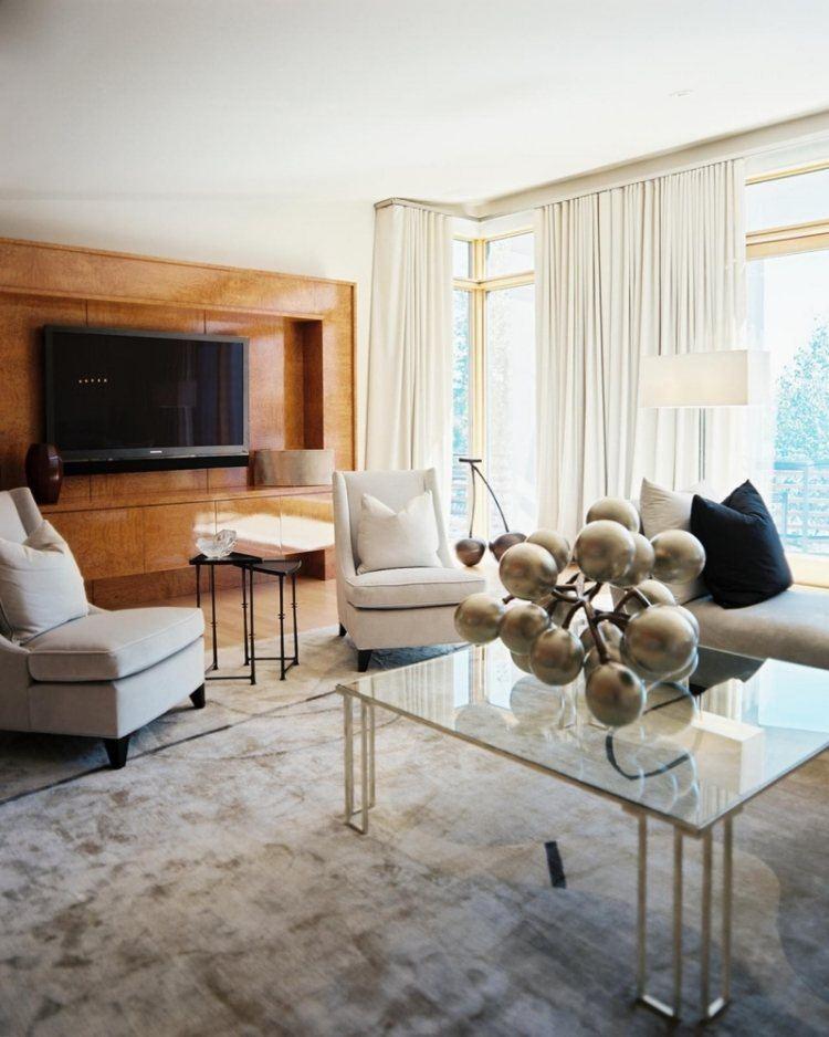 muebles de salón colores beige butacas alfombra ideas