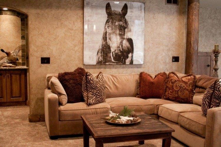 muebles de salón colores beige oscuro mesa madera ideas