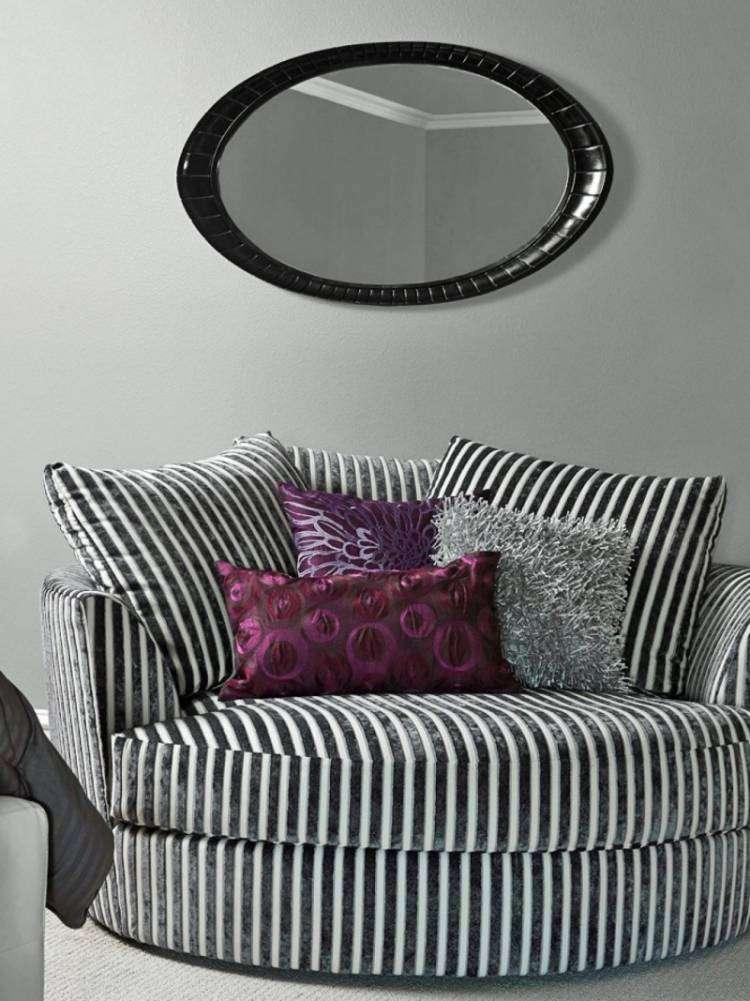muebles de salón colores blanco negro rayas ideas